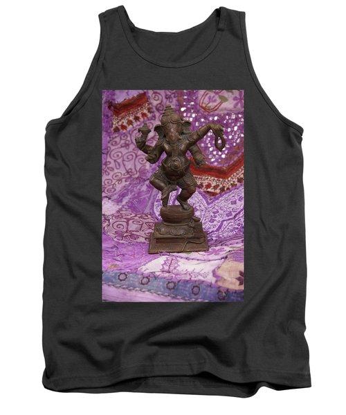 Bronze Ganesha Dancing, On Purple Tank Top