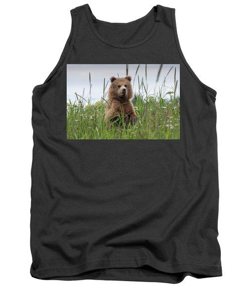 Brown Bear Cub In A Meadow Tank Top