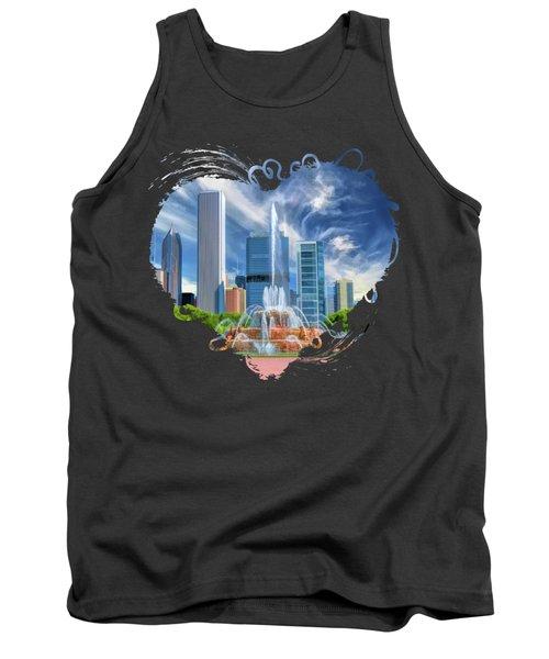 Buckingham Fountain Chicago Skyscrapers Tank Top