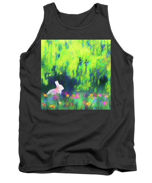 Bunny Beneath The Willow Tree - Square Tank Top