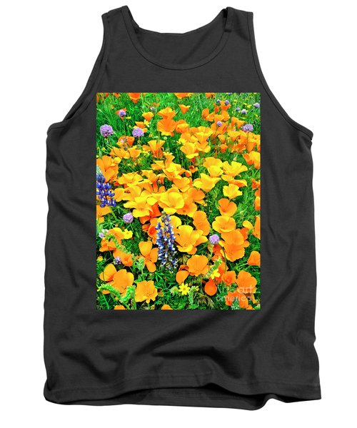 California Poppies And Betham Lupines Southern California Tank Top