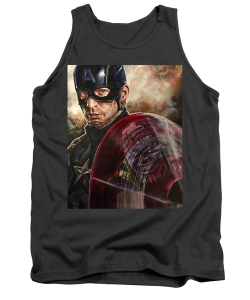 Tank Top featuring the painting Captain America by Joel Tesch