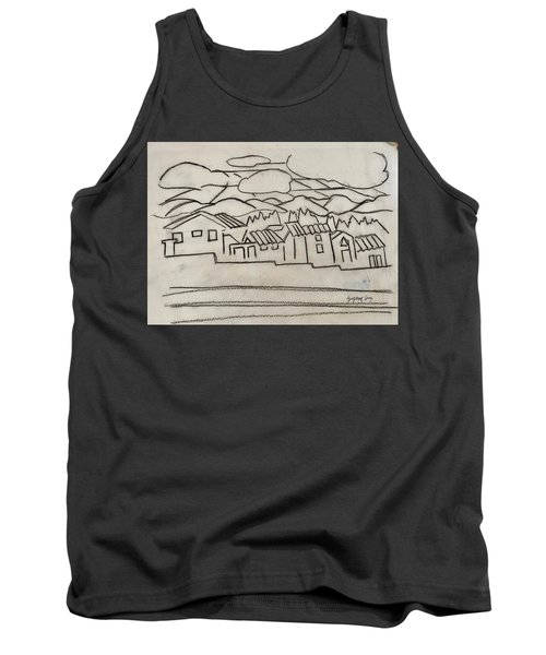 Charcoal Houses Sketch Tank Top