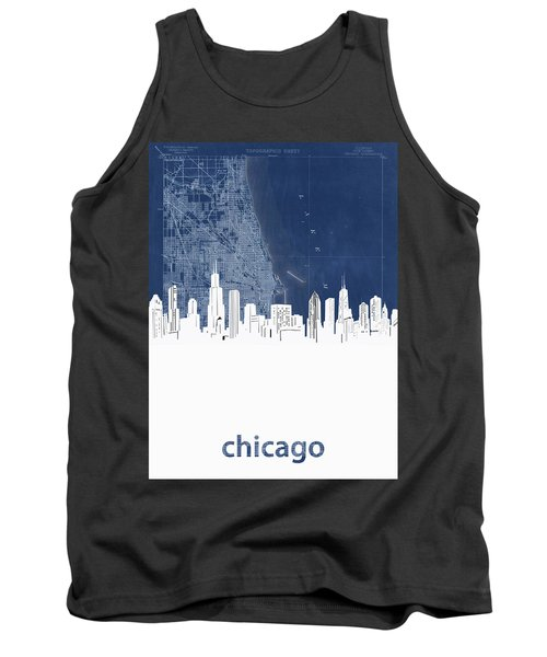 Chicago Skyline Map Blue Tank Top