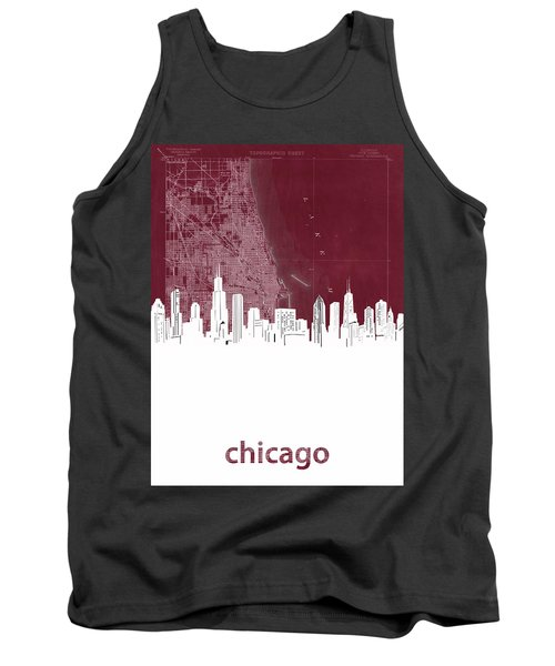 Chicago Skyline Map Red Tank Top
