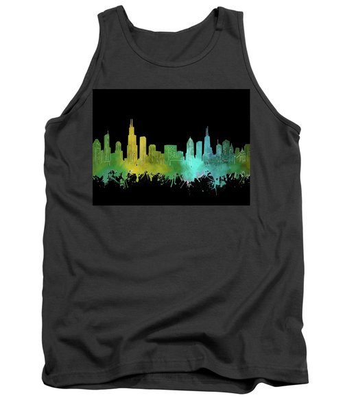 Chicago Skyline Watercolor 3 Tank Top