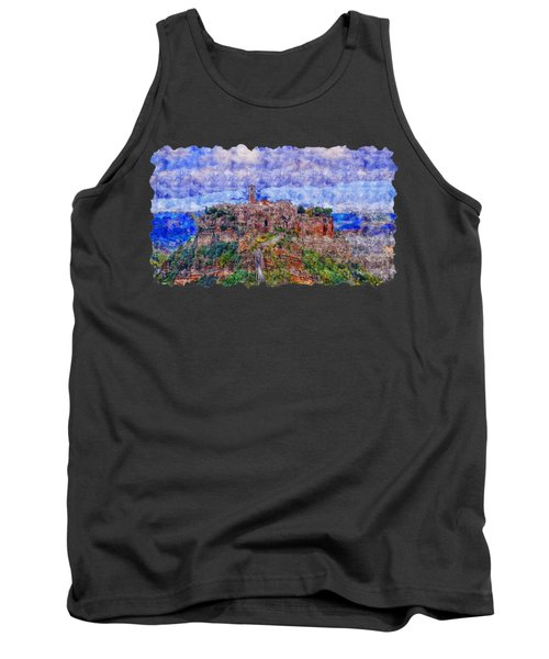 Cityscape Watercolor Drawing  -  Italy Castle  Tank Top