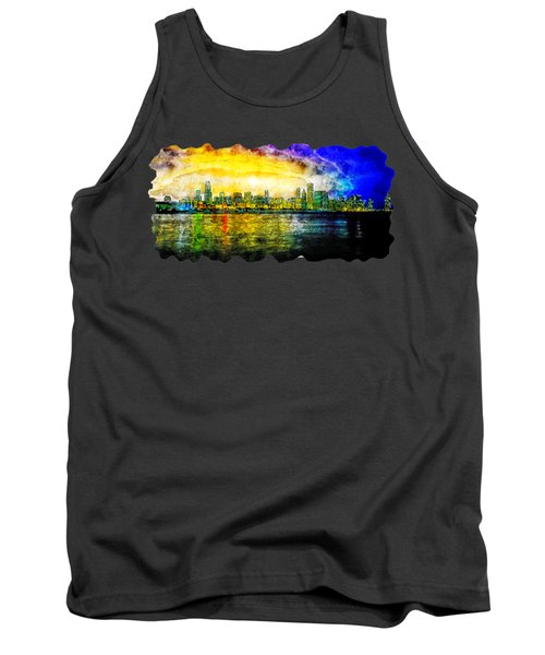 Cityscape Watercolor Drawing  - Chicago Tank Top