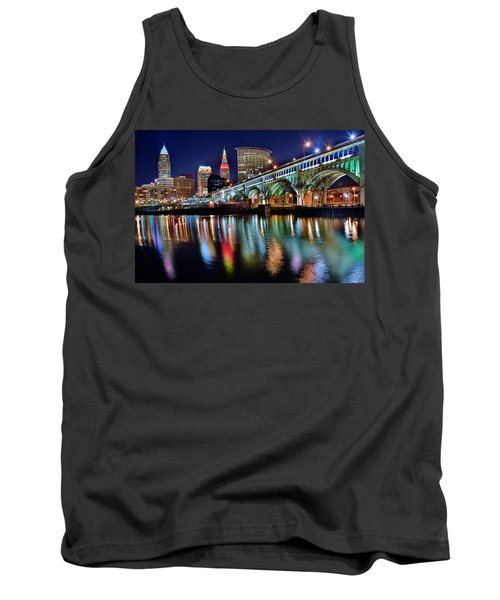 Cleveland Ohio Skyline Reflects Colorfully Tank Top