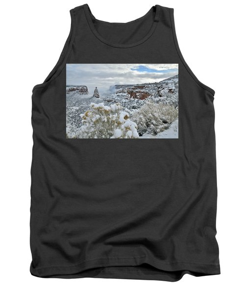 Clouds Break Over Snow Covered Independence Canyon Tank Top