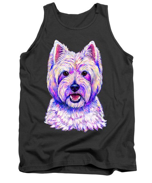 Colorful West Highland White Terrier Blue Background Tank Top