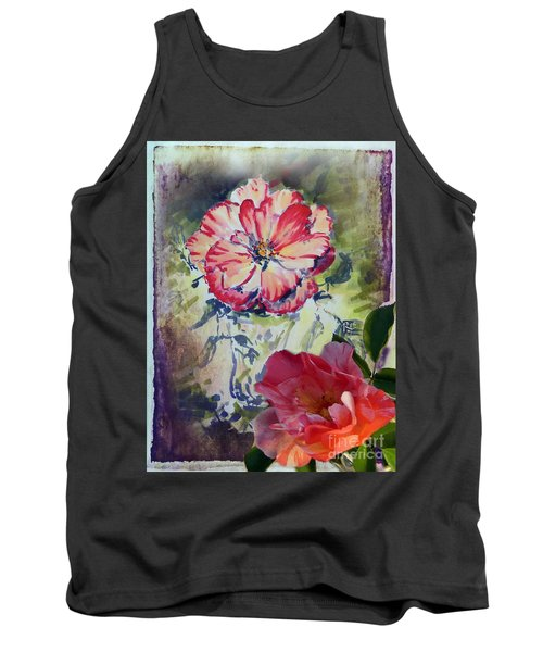Tank Top featuring the mixed media Copic Marker Rose by Ryn Shell