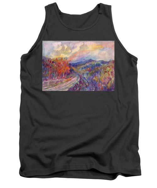 Country Road In The Autumn Forest Tank Top