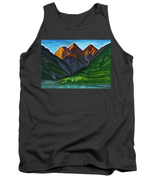 Evening Illumination Of Snowy Mountain Peaks With Waterfalls And A Mountain River Tank Top