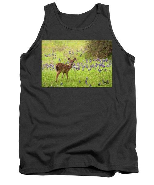 Deer In The Bluebonnets Tank Top