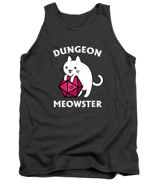 Dungeon Meowster Funny Dnd Tabletop Gamer Cat D20 Tshirt Tank Top