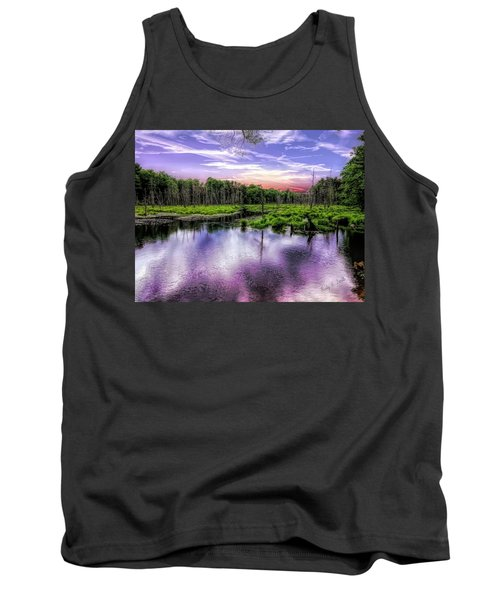 Dusk Falls Over New England Beaver Pond. Tank Top