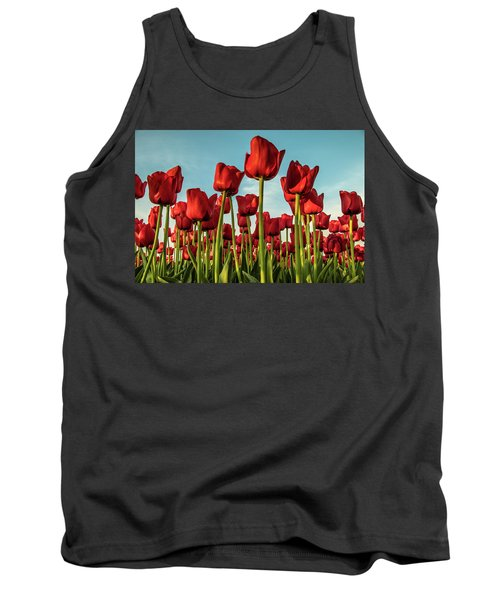 Tank Top featuring the photograph Dutch Red Tulip Field. by Anjo Ten Kate