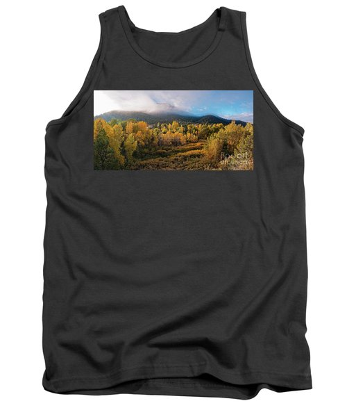 Early Morning Panorama Of Changing Aspens And Picacho Peak - Twomile Reservoir - Santa Fe New Mexico Tank Top
