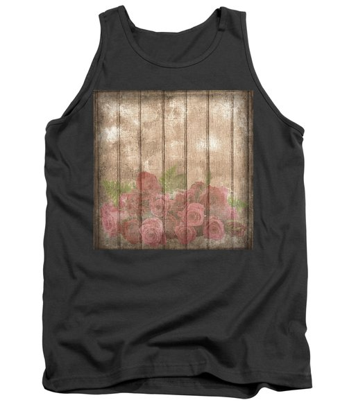 Faded Red Country Roses On Wood Tank Top