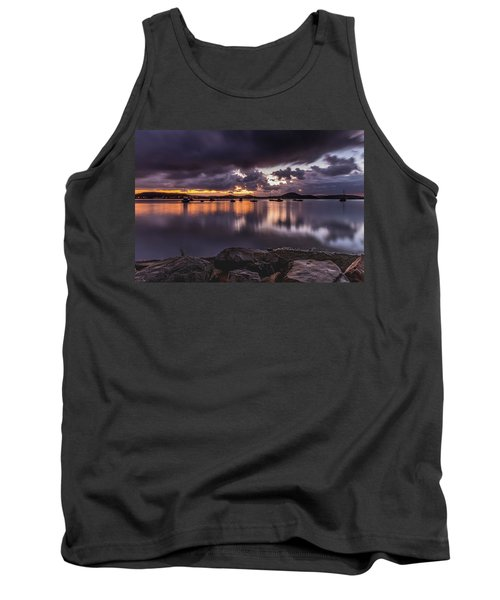 First Light With Heavy Rain Clouds On The Bay Tank Top