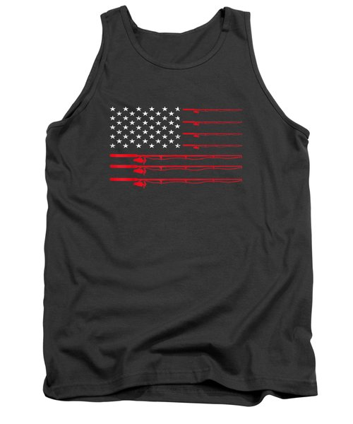 Fishing Rod T Shirt American Usa Flag - Fisherman Gift Idea Tank Top