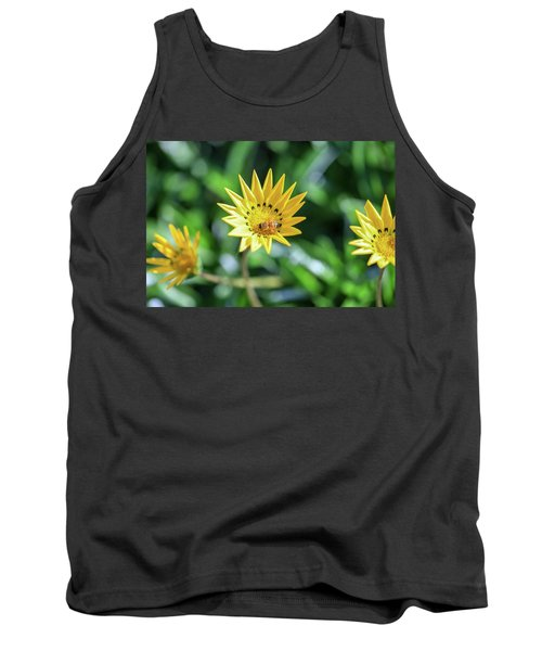 Yellow Flowers And A Bee Tank Top