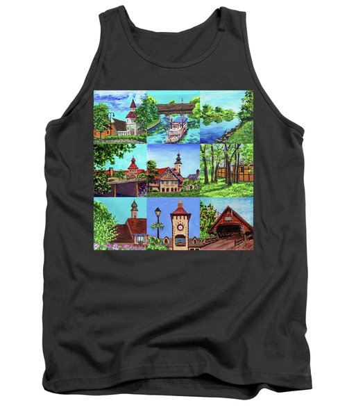Frankenmuth Downtown Michigan Painting Collage IIi Tank Top