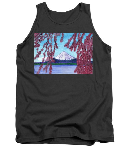 Sakura Blooming On The Background Of A Snowy Mountain Tank Top