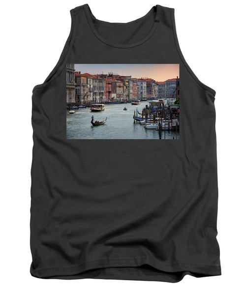 Grand Canal Gondolier Venice Italy Sunset Tank Top