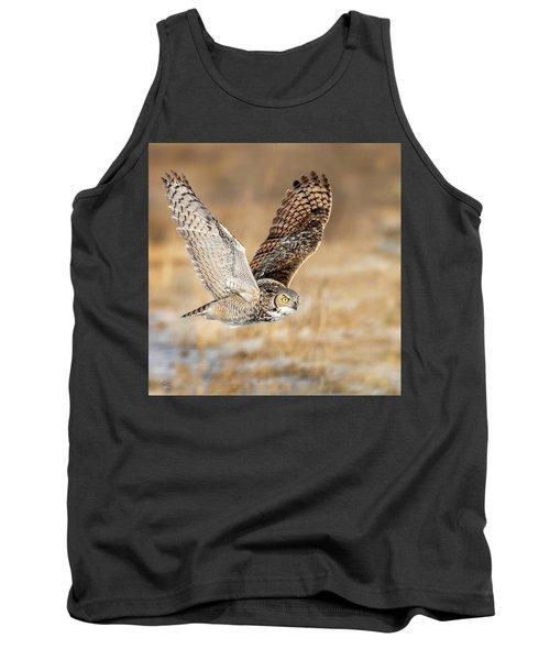 Great Horned Owl In Flight Tank Top