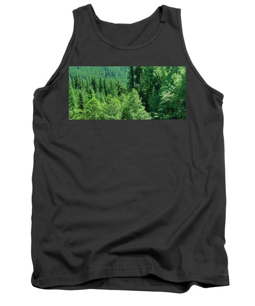 Green Conifer Forest On Steep Hillside  Tank Top