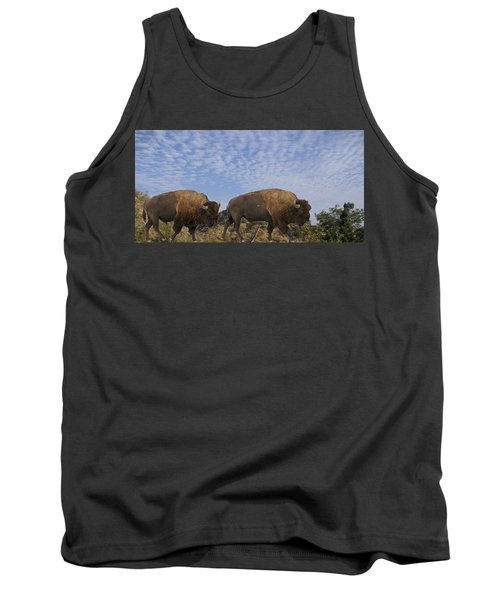 Group Of Bison Walking Against Rocky Mountains  Tank Top