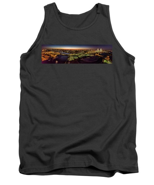 Tank Top featuring the photograph Hoan Bridge At Dusk Panorama by Randy Scherkenbach