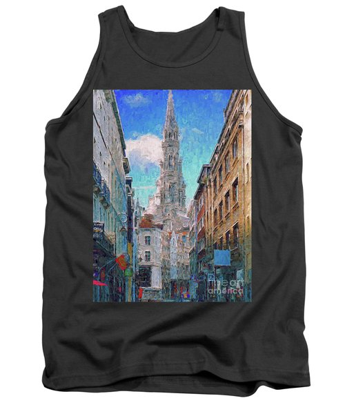 Tank Top featuring the photograph In-spired  Street Scene Brussels by Leigh Kemp