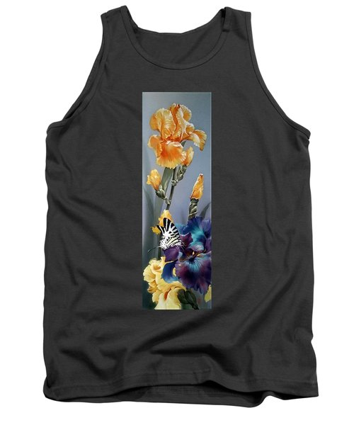 Iris Flower With Butterfly Tank Top