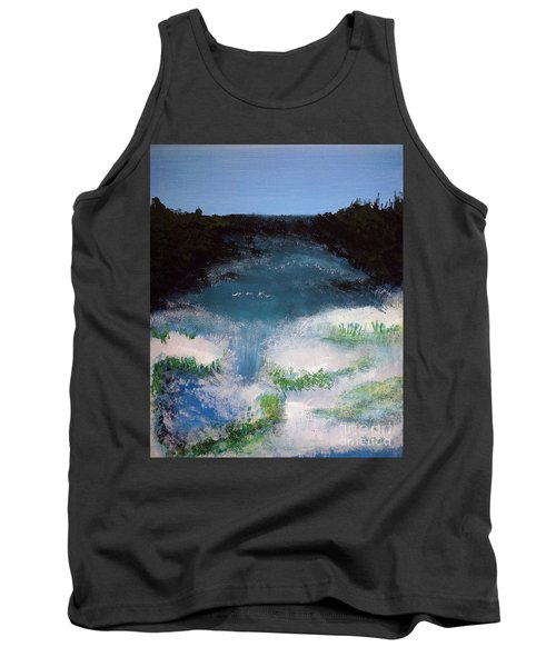 Island Escape Mixed Media Painting Tank Top