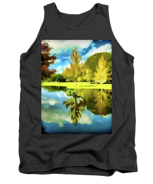 Lake Reflection - Faux Painted Tank Top