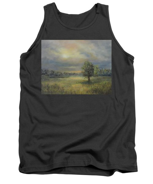 Landscape Of A Meadow With Sun And Trees Tank Top