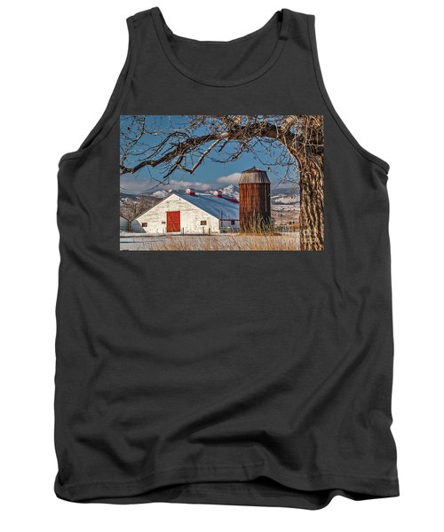Large White Barn With Silo Tank Top