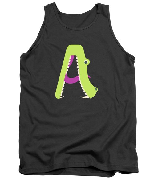 Letter A - Animal Alphabet - Alligator Monogram Tank Top