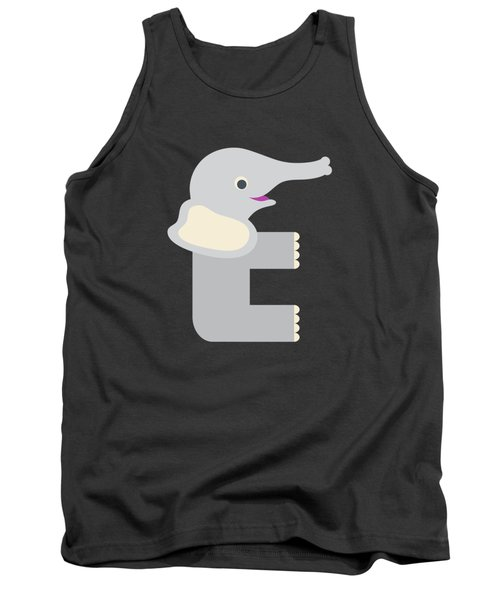 Letter E - Animal Alphabet - Elephant Monogram Tank Top
