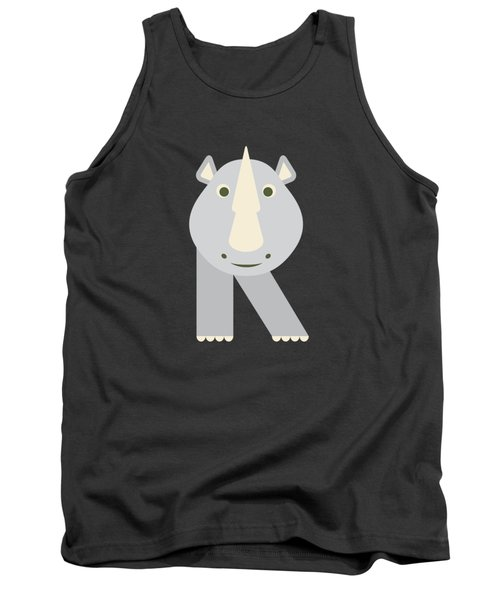 Letter R - Animal Alphabet - Rhino Monogram Tank Top