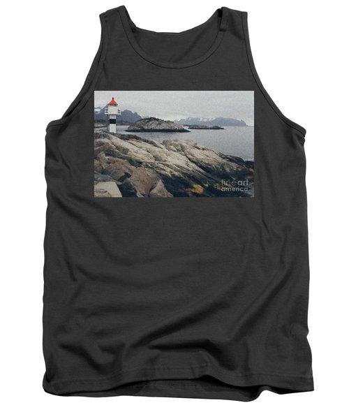 Lighthouse On Rocks Near The Atlantic Coast, Digital Art Oil Pai Tank Top