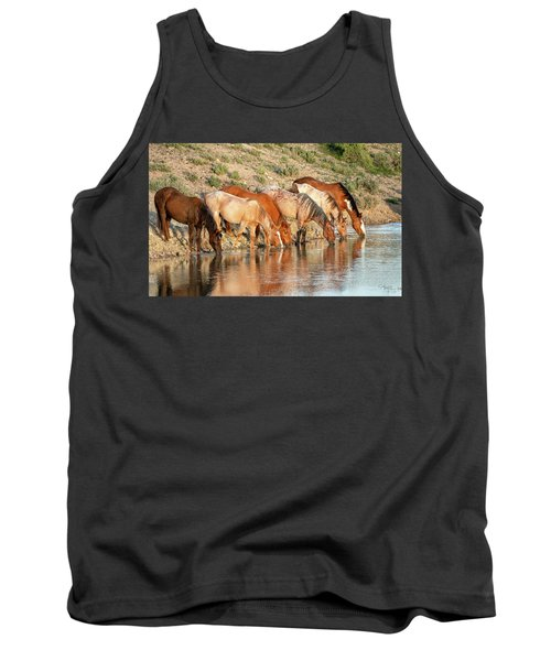 Lineup At The Pond-- Wild Horses Tank Top