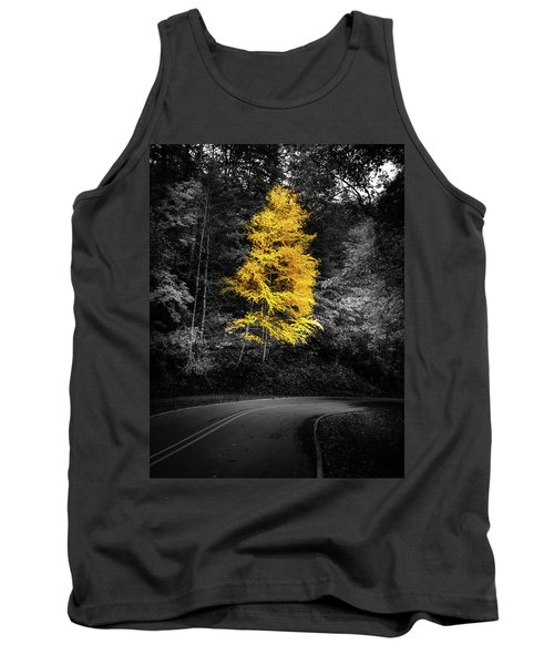 Lone Yellow Tree In The Curve Tank Top