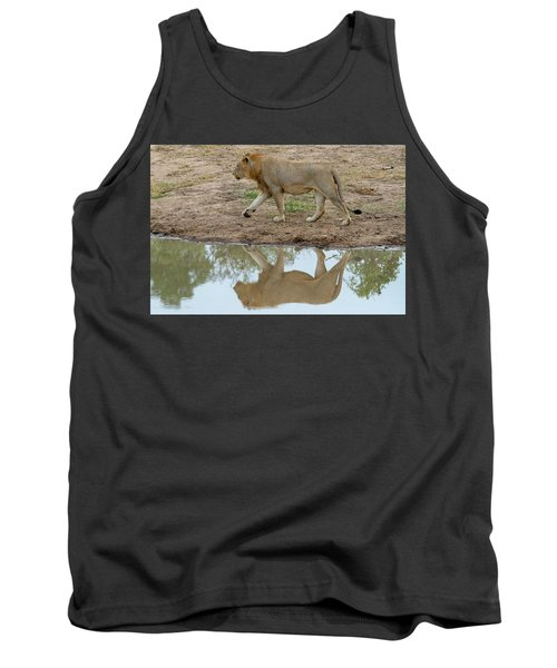 Male Lion And His Reflection Tank Top