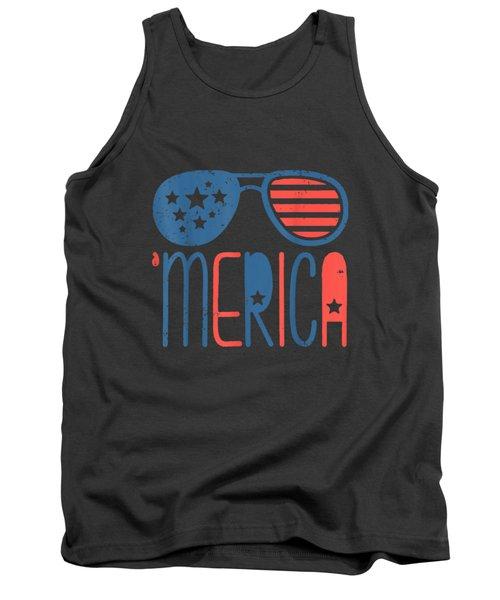 Merica American Flag Aviators Toddler Tshirt 4th July White Tank Top
