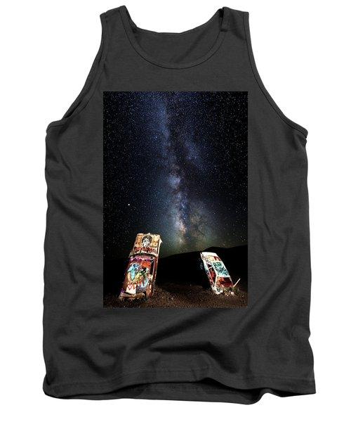 Milky Way Over Mojave Desert Graffiti 1 Tank Top