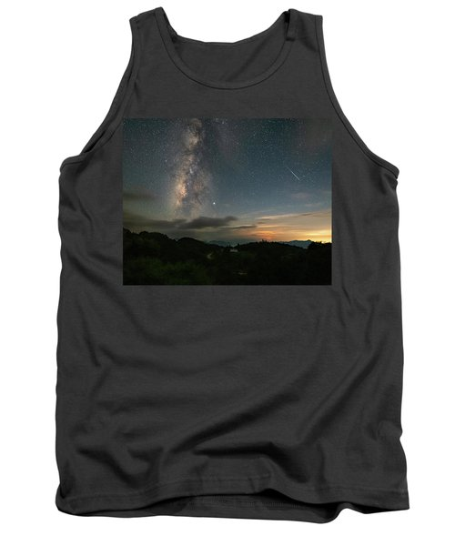 Moonset Milky Way And Shooting Star Tank Top